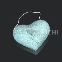 Hottest 2014 New fashion 100% natural Konjac cleaning sponge Green Tea Facial/Bath accessories for spa and make up clean