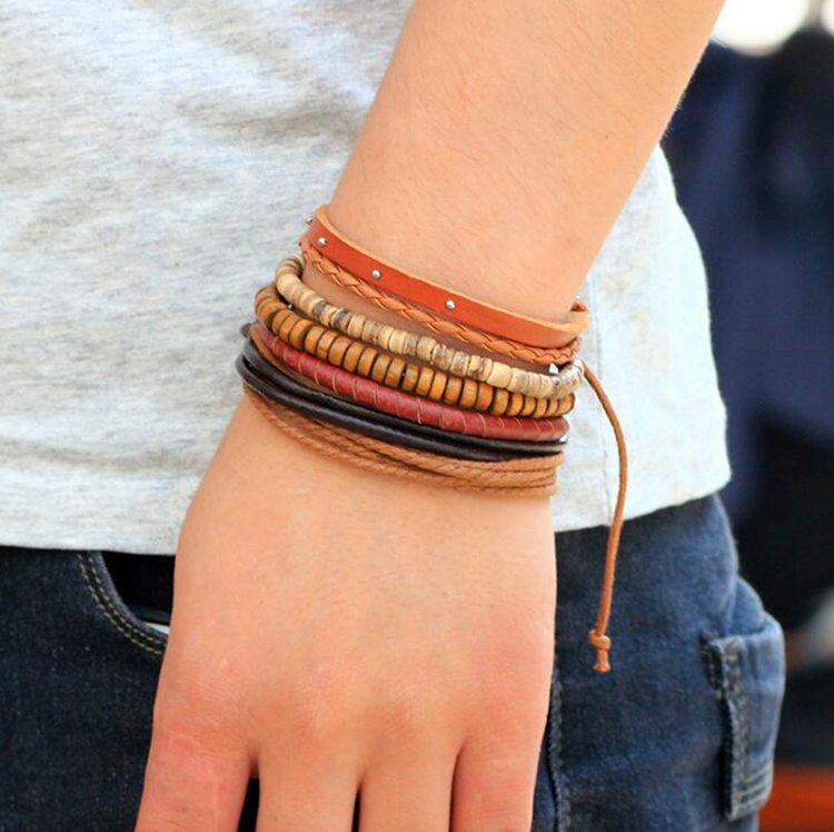 Wholesale Punk Braided Unisex Multilayer Coconut Shell Bead Leather Bracelet With Wood