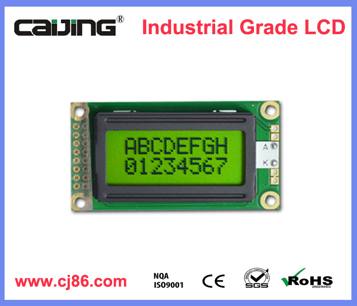 3V display 8x2 monochromatic character LCD for industry device