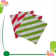 Cheap Green Red Stripe Colorful Serviettes Virgin Pulp Printed Paper Napkin Custom 4 Fold