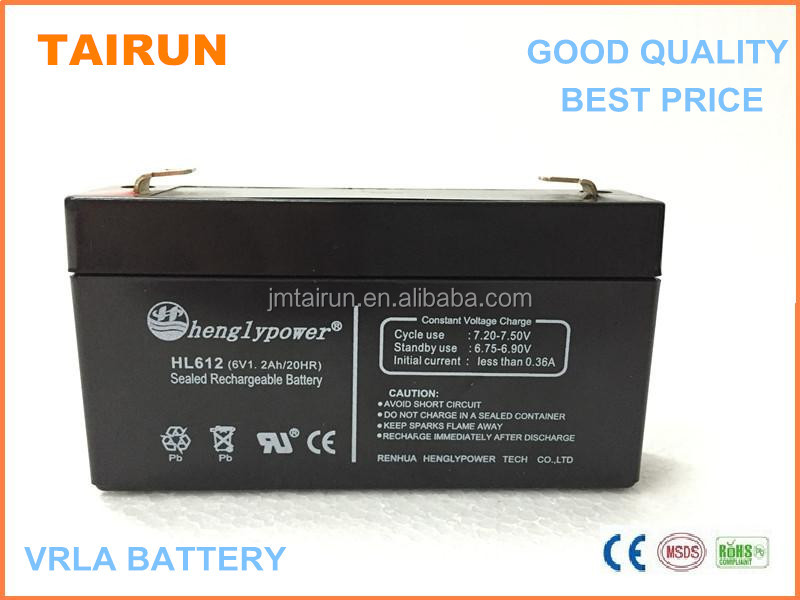 Good quality secondary cell 6V1.2ah with CE ROHS certificate