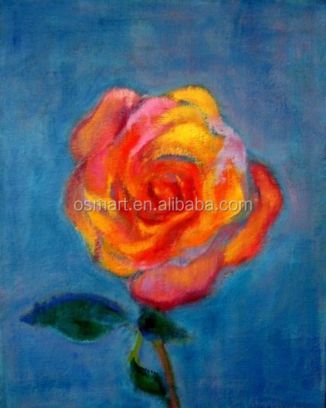 orange rose with red petal openning in the blue sky 100% handmade decoration oil painting in canvas
