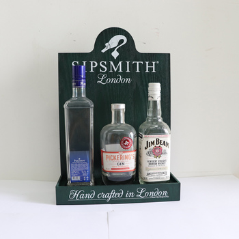 Wood Sipsmith Glorifiers and Bar bottle display