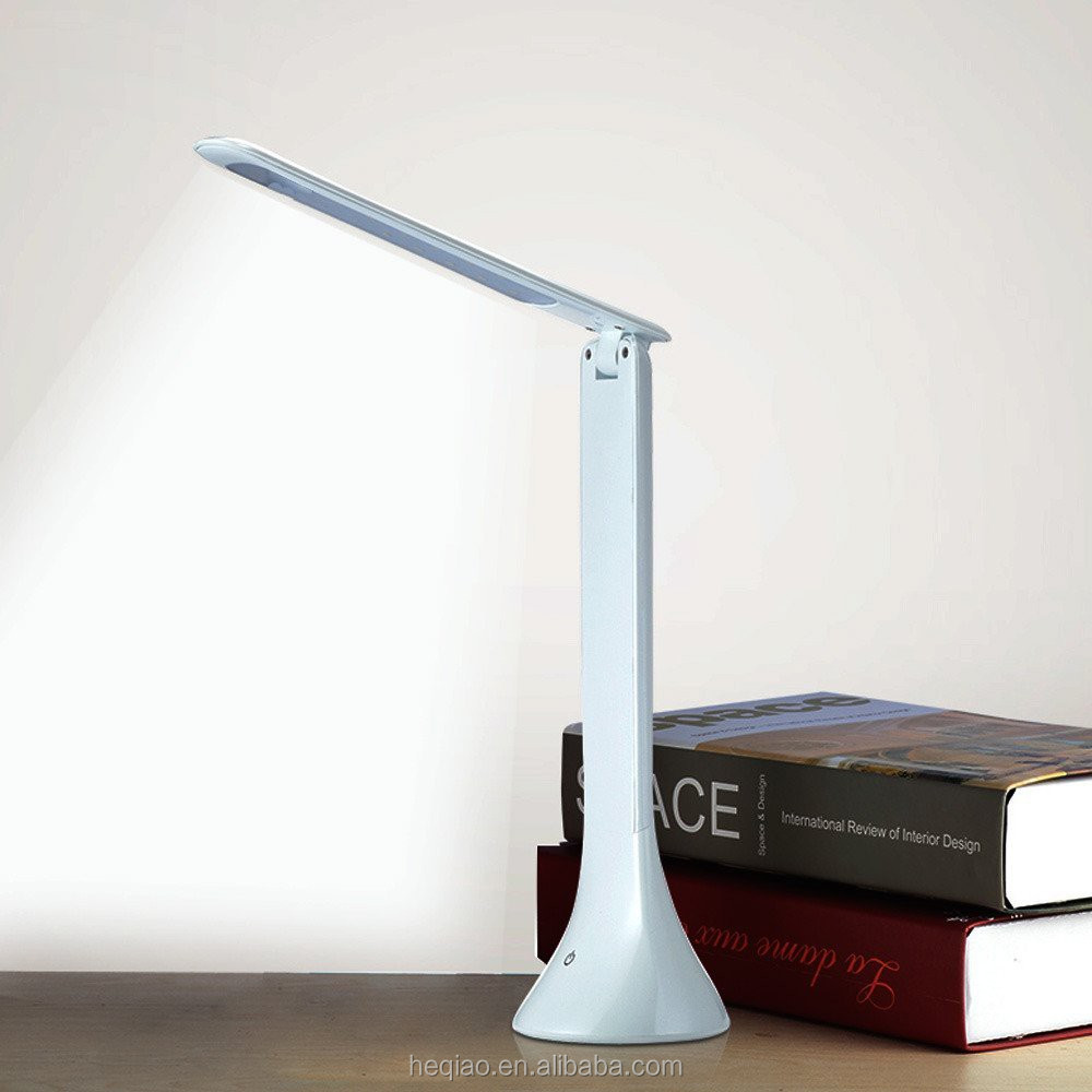High power 3-level dimmable foldable reading table lamp led /ABS led desk lamp housing with touch sensitive free logo