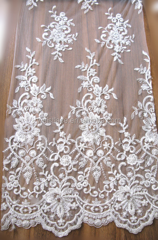 2015 High Quality Flower pattern double side lace fabric factory embroidery for bridal dress with heavy handwork beads