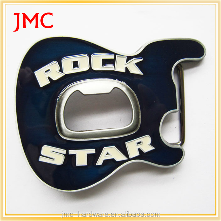 fashion custom made metal guitar western belt buckles with bottle opener