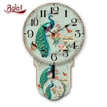 Old wooden decoration green dial indoor wall decor pendulum clock