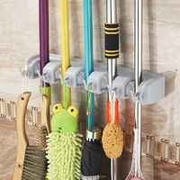 Mop and Broom Holder 5 position Wall Mounted Garden Tool Magic Holder