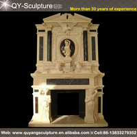Factory supplier hot sale hand carved marble fireplace mantel for indoor & outdoor decoration