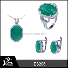 wholesale 925 sterling silver wedding jewelry hot sell emerald jade