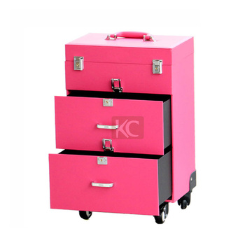 Beautiful traveller makeup case with drawers,hairdresser trolley case,with trays & compartments inside for your makeup tools