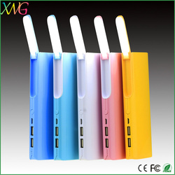 Made in china high capacity 13000mah fashion power bank with led reading lamp light
