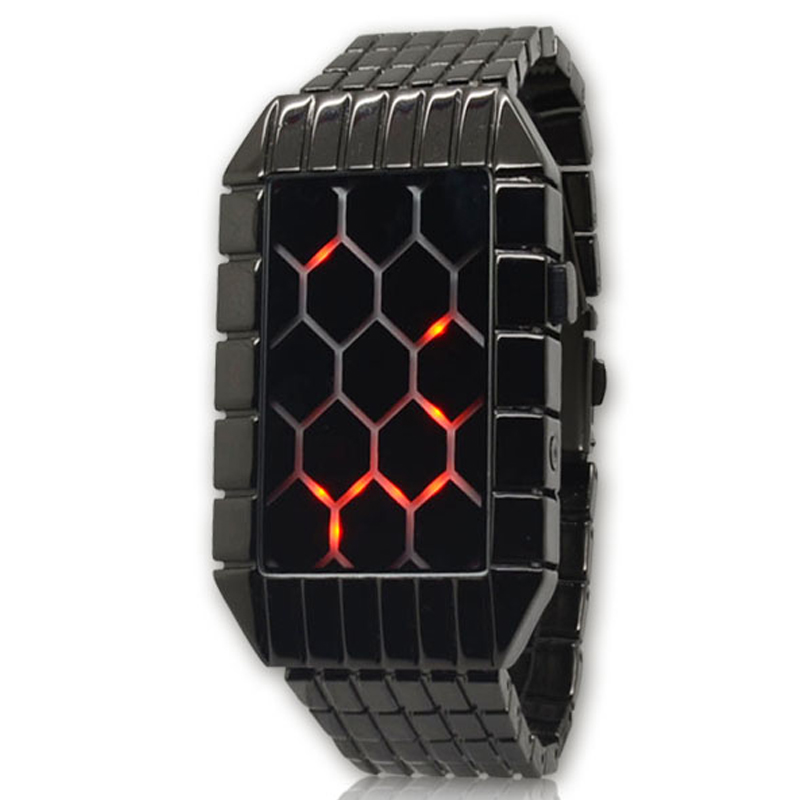 Fashion design Black Steel Strap Red Led Vignette LED Army Men's Military Watches Relojs De Marca