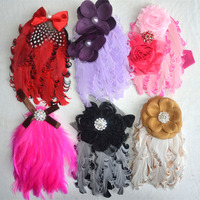 Lovely Flower Feather Elastic Baby Headband wholesale kid hair accessories