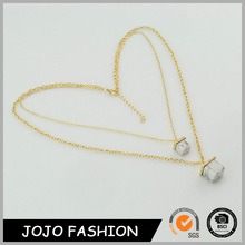latest design gold plated long chain white howlite fancy stone necklace cheap price