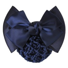 Fashion hair bow stretch fabric hair net for business women hair accessories