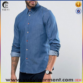 new style boys shirts long sleeve mens washed denim shirts for men slim fit custom