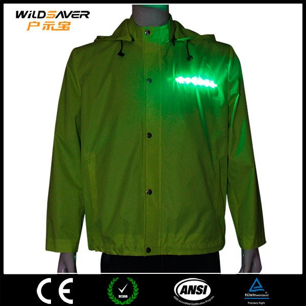 ski & snow wear safety cycling rain jacket with led