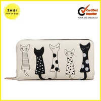 China Pu Leather Custom Clutch Bag Fashion Lady Pure Korean Style Wallet Cat Women Wallets Made In China