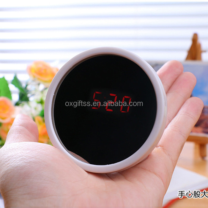 OXGIFT Made in China Alibaba wholesale Manufacture ABS plastic LED mute beauty mirror Alarm clock