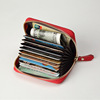 zipper round genuine leather card wallet multiple card holders with leather strap OEM service