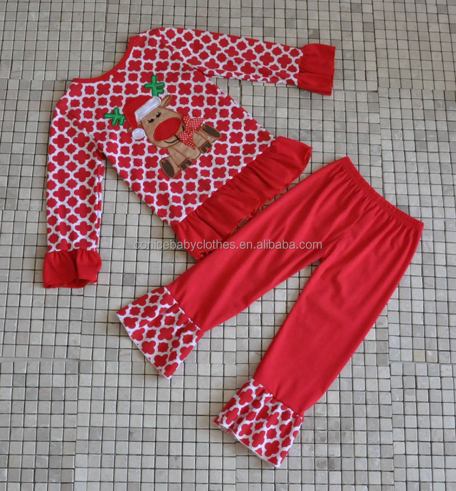 yiwu conice garment factory supply kids girl's christmas sets