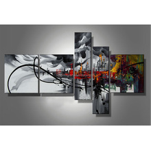 JC 5 Pieces Abstract Landscape Style Wall Art Living Room Home Decoration Handmade Oil Painting On Canvas HP-36