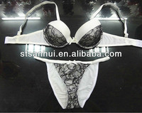 sexy photo bra set lingerie mature women white bra g string set with black lace