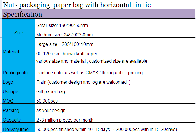 Nuts packaging paper bag with horizontal tin tie
