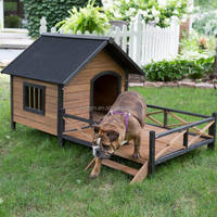 outdoor wooden dog house with balcony