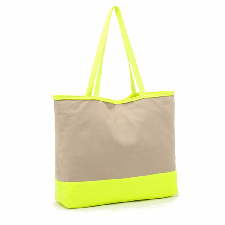 Zip pocket inside tote handbag canvas beach bags wholesale
