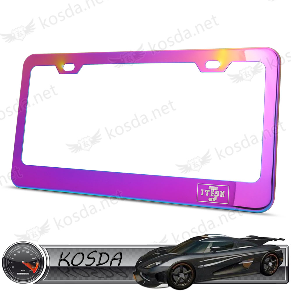 wholesale neo chrome stainless steel us size custom car license plate frame for american cars