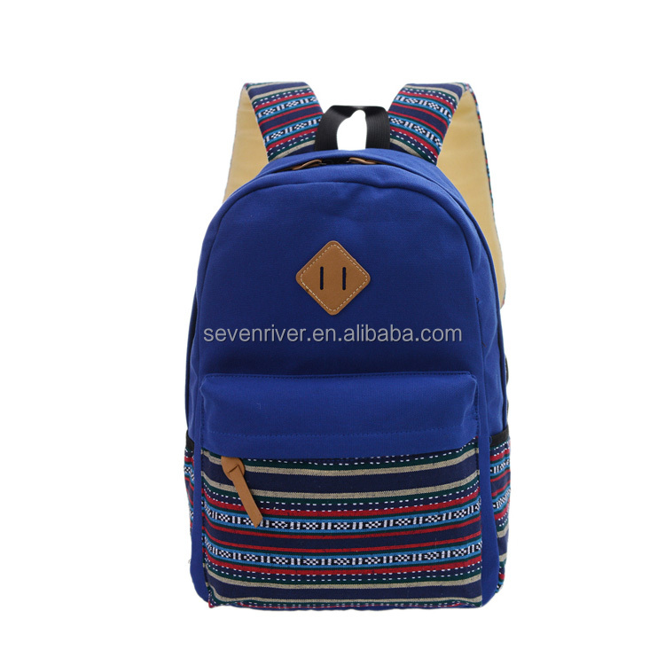 Fashion latest stock wholesale canvas high school backpack