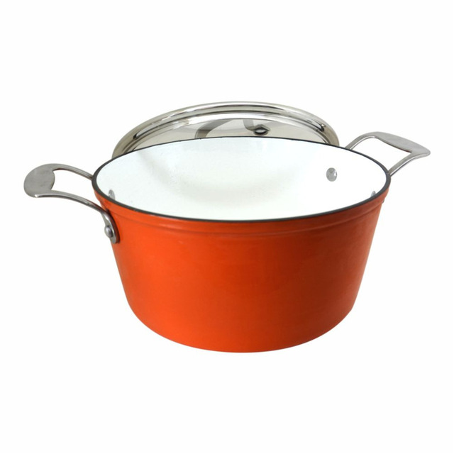 enamel cast iron casserole dish with stainless steel knob