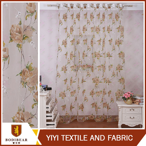 High quality polyester material made voile fabric burnout curtain with flowers design