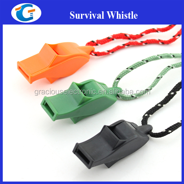 Unique plastic survival whistle for camping equipment