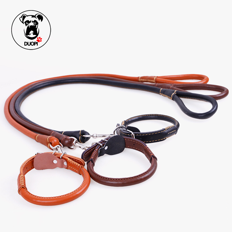 Duopi Brand Pet Fashion Leashes Rope Dog Chain Cow Leather Traction Rope Stylish Solid Dog Leads Puppy Medium Large Dog Harness