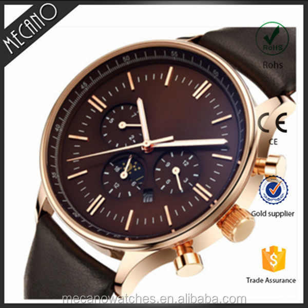 High Quality Chronograph Mens Wrist Watches PVD Steel Moon Phase Timpieces Genuine Leather Japan Movt Watch Logo Custom