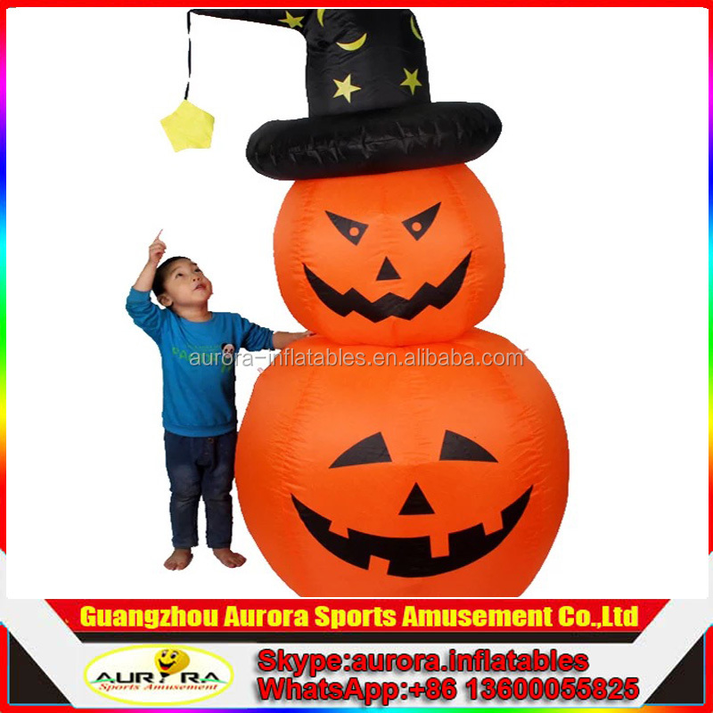 Two stacking halloween pumpkin inflatable halloween party light decoration