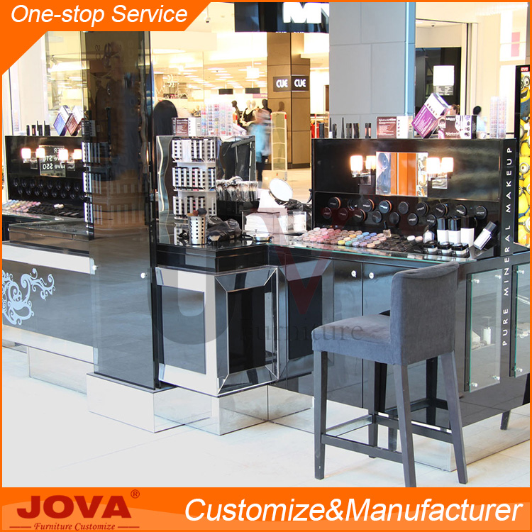 Custom cosmetic shop counter design modern makeup display counter table rack station with lights