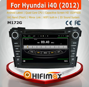 Hifimax S160 series android 4.4.4 car dvd player for Hyundai I40 with 4 Core CPU 16G Hard disk HD1024*600 capacitive screen