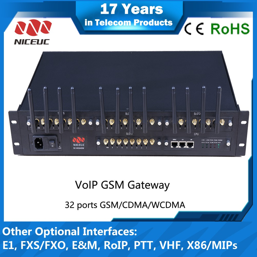 NICEUC solution for company internal communication calling and SMS 32 port 32 sim voip gateway