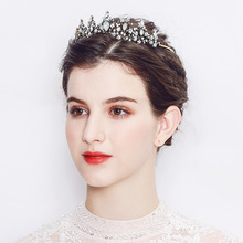 Crystal Tiaras And Crowns Baroque Vintage Flower Pearl Crown Bridal Wedding Hair Accessories