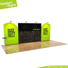 Custom made 100% polyester advertisement fair fashion quick install hanging trade show displays booth