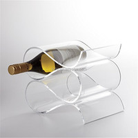 4 Bottle Acrylic Wave Wine Rack Clear custom acrylic wine bottle holder,store display racks,vintage lucite wine rack with curved