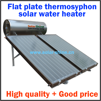 Supply solar water heater equiped by flat solar collector and pressured water storage tank and intelligent controller parts