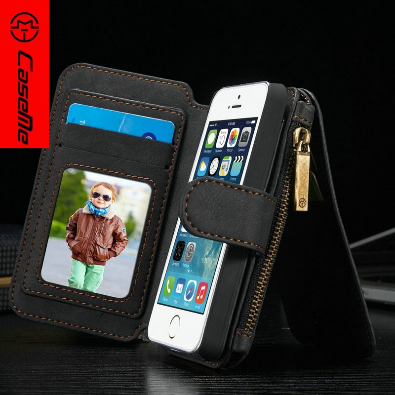 2016 Amazon Top Selling Wallet Case for iPhone 5, for iPhone 5s Flip Case, for iPhone se Case Cover 2 in 1 Function