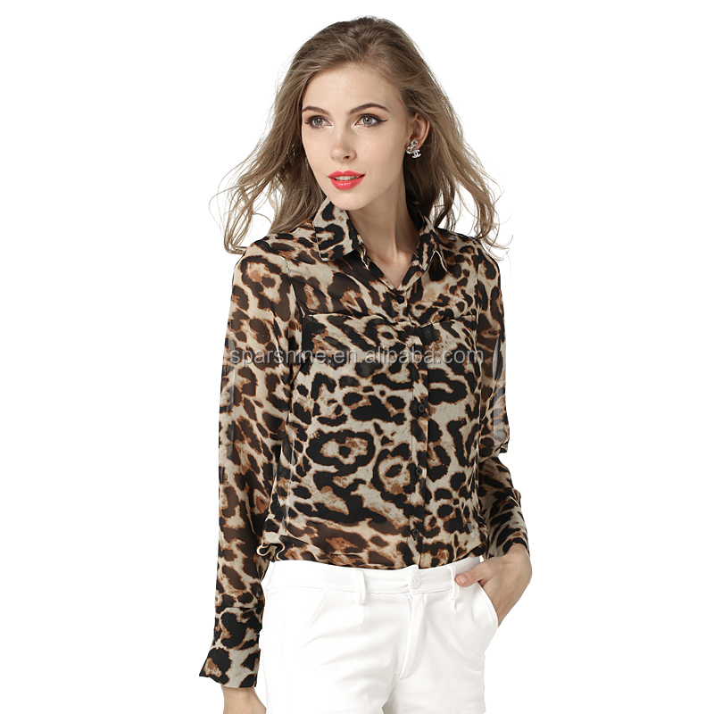 South Indian Fashion Blouse Rayon Hard Rock T-Shirts Leopard