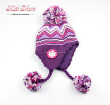 Women fashion zig-zag acrylic knitted hat with earflaps