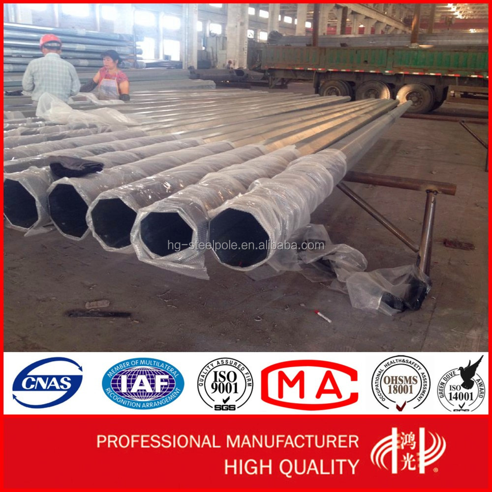 220KV Single or Double Circuit Transmission Line Steel Pole for Electric Power